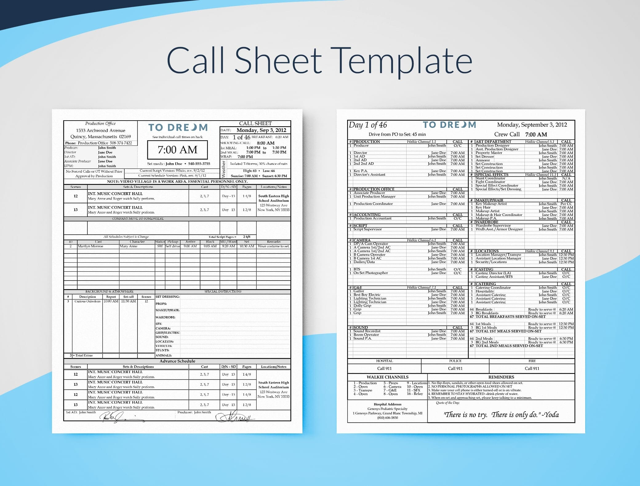 Professional Film Call Sheet Template