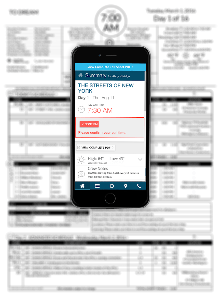 Call sheet template for print and mobile
