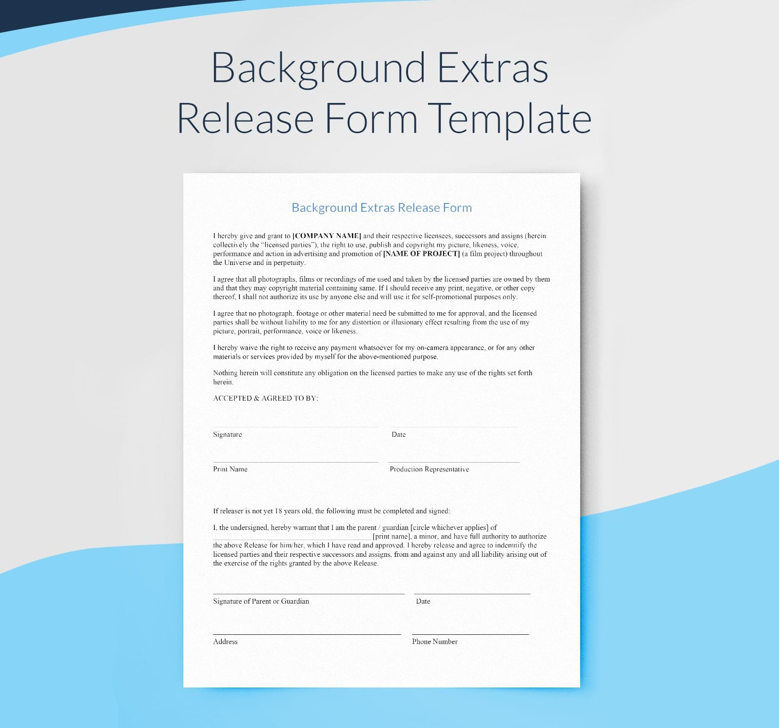 Background Extras Release Form - Free Filmmaking Template