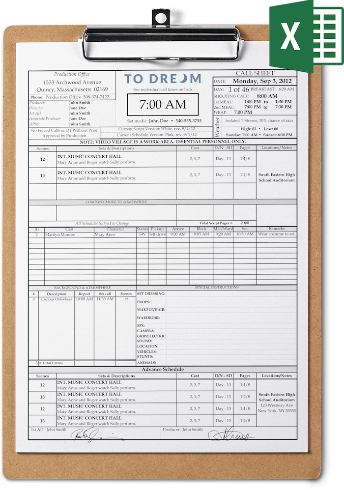 Professional call sheet template for Excel on clipboard