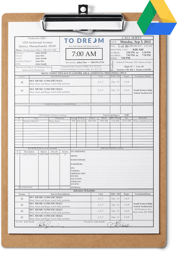 Call Sheet Template for Google Drive - Free Download | SetHero
