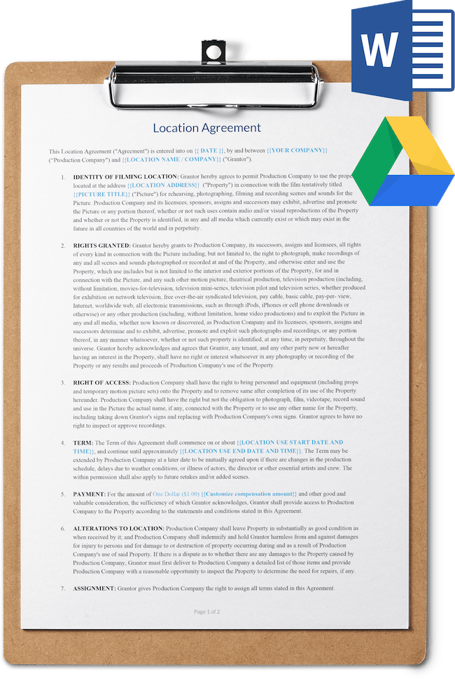 Location Release Agreement Template - Download for Word and Google Docs