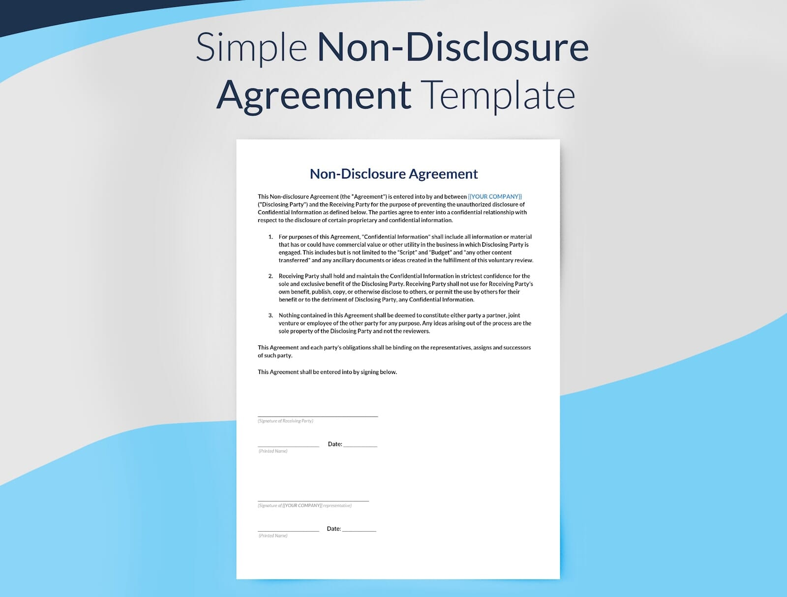 Preview of Simple Non-Disclosure Agreement Template