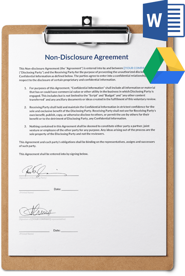 Non Disclosure Agreement Template Free Download Sethero