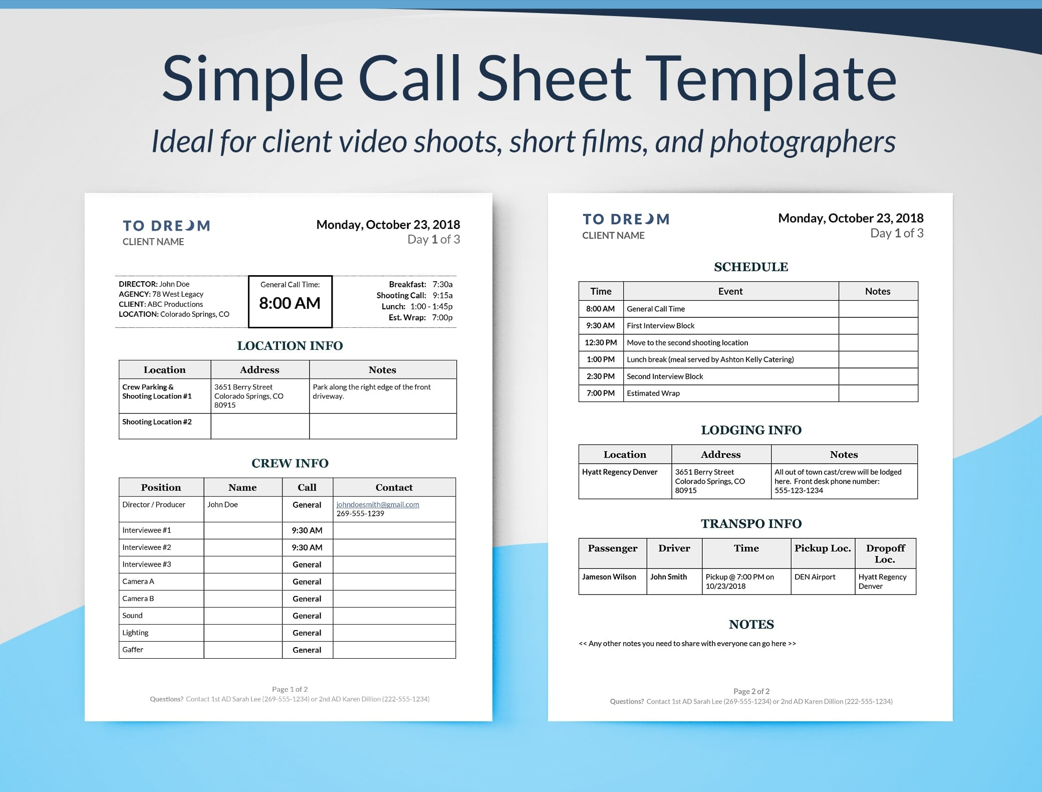 Simple call sheet template word doc | sethero.