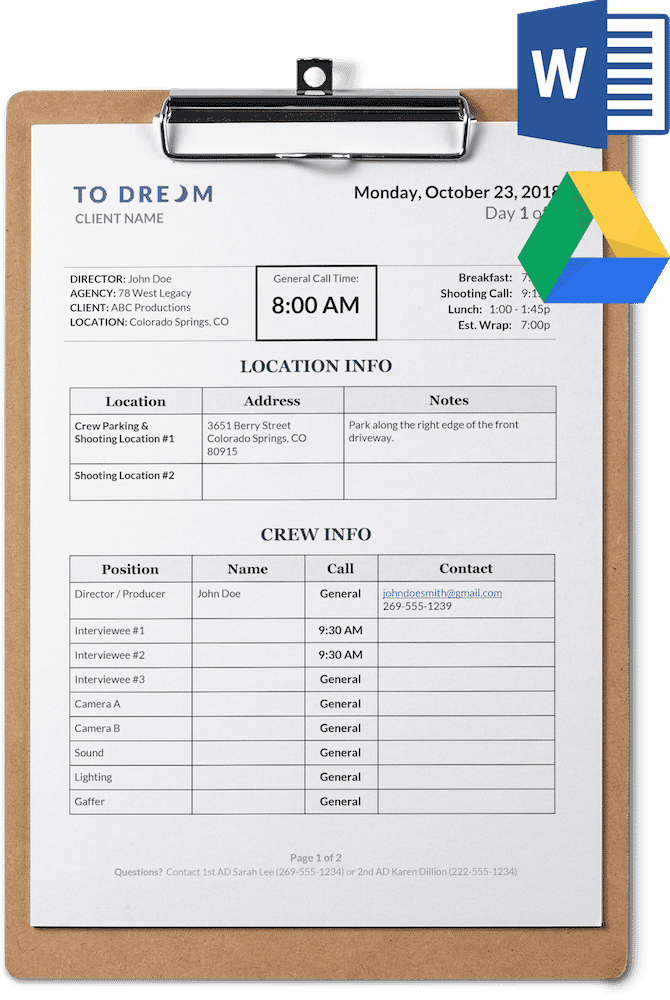 simple call sheet template