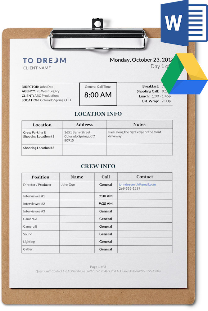 Simple Call Sheet Template Free For Word And Google Docs